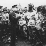 General Eisenhower visiting paratroopers of the 101st Airborne Division the night before D-Day