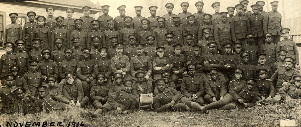 Photo of #2 construction batallion of black Canadian soldiers